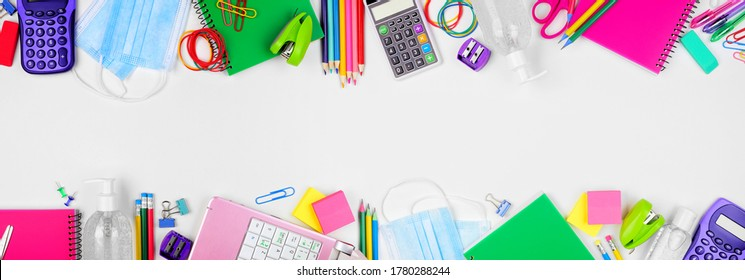 School or office supplies and coronavirus prevention items. Top view double border on a white background.