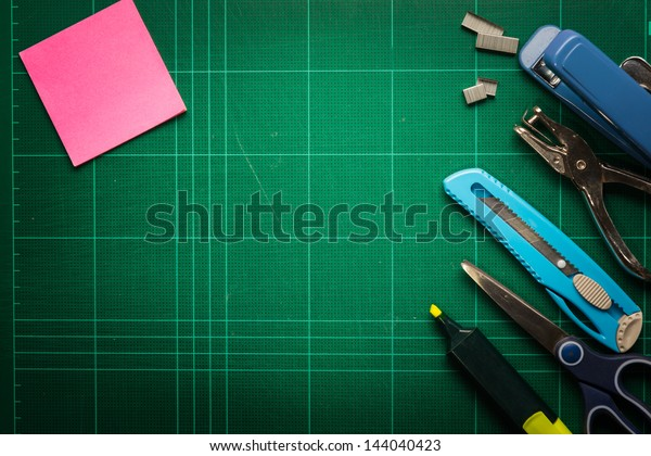 School and office supplies frame, on Cutting mat board background, back to school