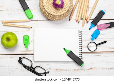 School and office supplies, space for your text