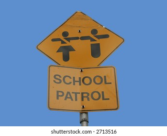School patrol sign isolated on blue
