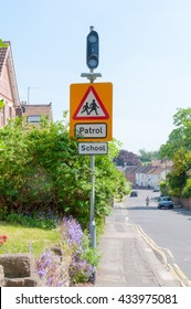 School, Patrol sign, Warning for motorists on a street in England, UK