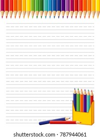 School poster, rainbow border, box of colored pencils. Copy space with penmanship lines for back to school announcements, stationery, education, literacy, scrapbook projects.