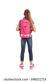 School: Rear View Of Girl With Pink Backpack