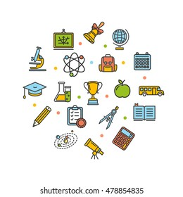 School Round Design Template Thin Line Icon Set Isolated on White Background. illustration