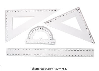 School Rulers set isolated on white