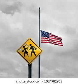 School shooting tragedy and horrific gunfire towards students as a sign with bullet holes with an American flag at half mast for a violent event in the United States with 3D illustration elements.