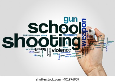 School shooting word cloud concept