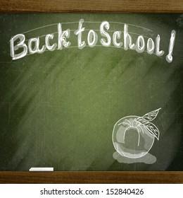 school sketches on blackboard, apple