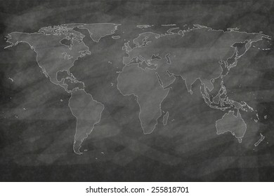school sketches world map on chalkboard texture