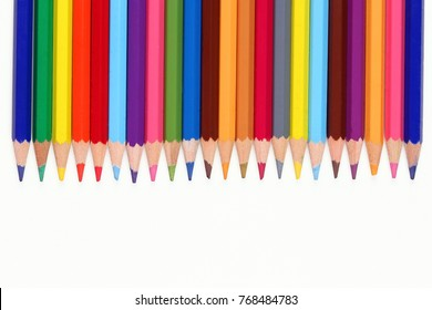 school stationery and colorful pencils