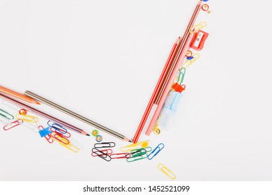 School stationery of different colours