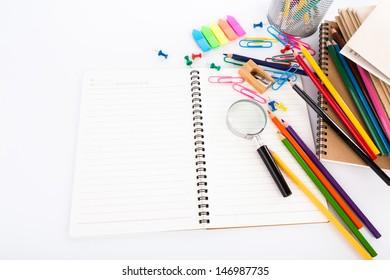 School stationery isolated on white background