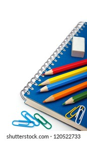 School stationery isolated over white