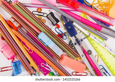 School stationery in mess top view