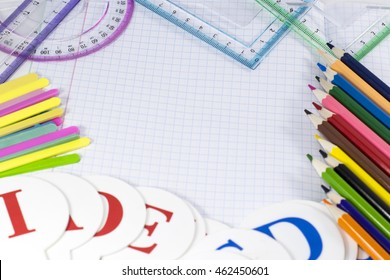 School stationery.  Pencils, counting sticks, rulers, letter