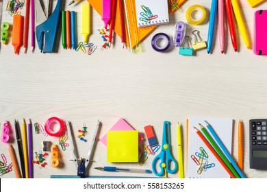 School stationery supplies, wide copy-space in the centre