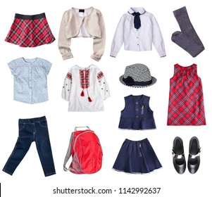 School style clothes set isolated.Child's apparel collage.