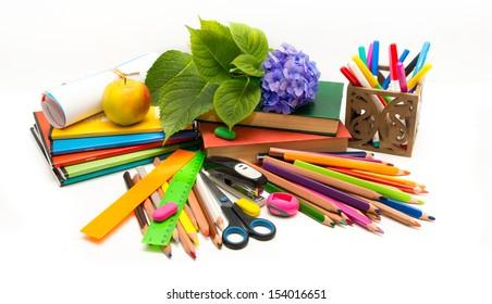 School subjects and hydrangea flower Teacher  Day (notebooks, books, crayons)