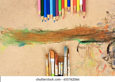 School supplies art.with copy space