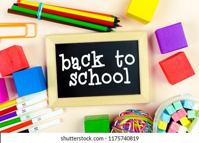 School supplies with black board. Back to school concept