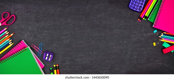 School supplies double corner border banner. Top view on a chalkboard background with copy space. Back to school concept.