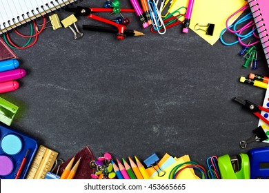 School supplies frame on a chalkboard background