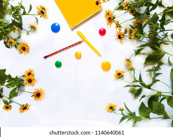 School supplies isolated on white background books pens notebooks pencils magnets apple flowers ruler