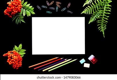 school supplies on a black background with a white sheet