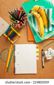 School supplies on the table.