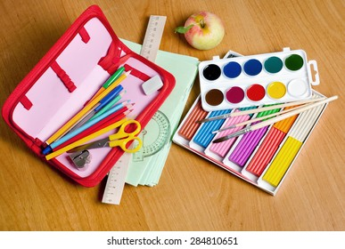 school supplies on the table