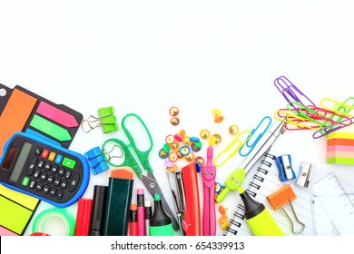 School supplies on white background - space for caption
