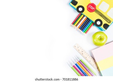 School supplies on white background. Back to school