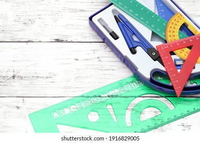 School supplies on a white wooden table