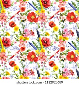 School supplies (pen, pencil), math text (formulas, graphs) and flowers. Seamless education pattern with hand written notes. Watercolor