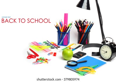 School supplies pencils crayons colorful assortment isolated white background