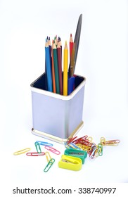 School supplies with sharpener and paper holders