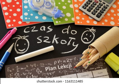 School supplies with the words time to school in Polish