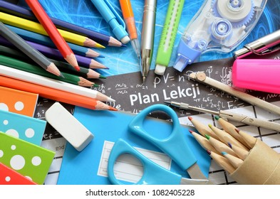 school supplies and writing lesson plan in Polish