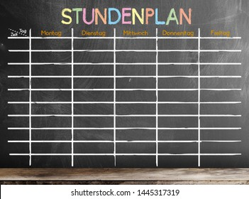 school timetable or class schedule with word STUNDENPLAN, German for schedule, template on blackboard