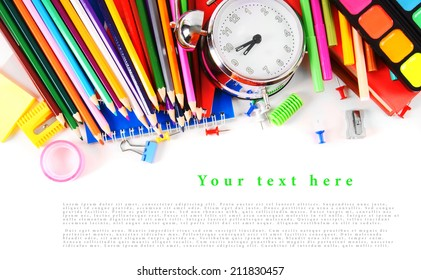 School tools and accessories on white background. With your place for the text.