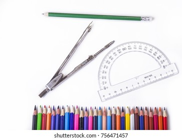 School tools for geometry. Compas with protractor and pencils