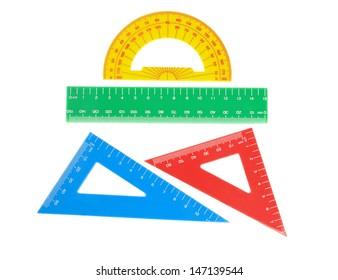 School tools triangle, ruler, protractor. Close-up.