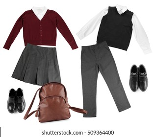 School uniform with backpack on white background. Fashionable school set concept.