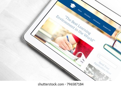 School website homepage design on tablet screen. College application or applying for University concept. Searching information about education and institutions.
