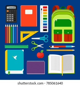 School workplace items or school equipment object collection. Backpack and notebook, apple and pencils icons for study. illustration