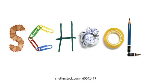 school written by tools alphabet: Staple, pencil, paper clip, adhesive tape