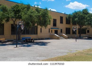 a school yard basketball court