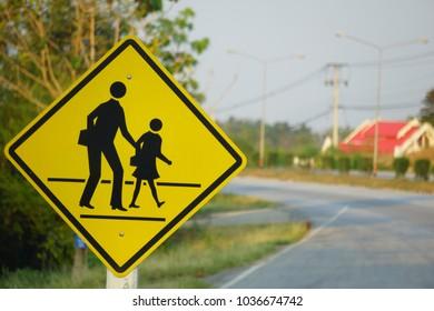 School zone Warning Traffic sign.