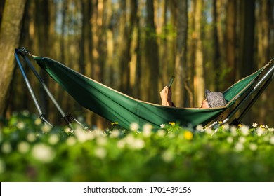 A school-age boy rests in a folding hammock in the spring or summer forest. The child reads an e-book, teaches lessons, learns, distance learning, harmony with nature, rest and relaxation.