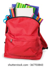 Schoolbag with supplies.